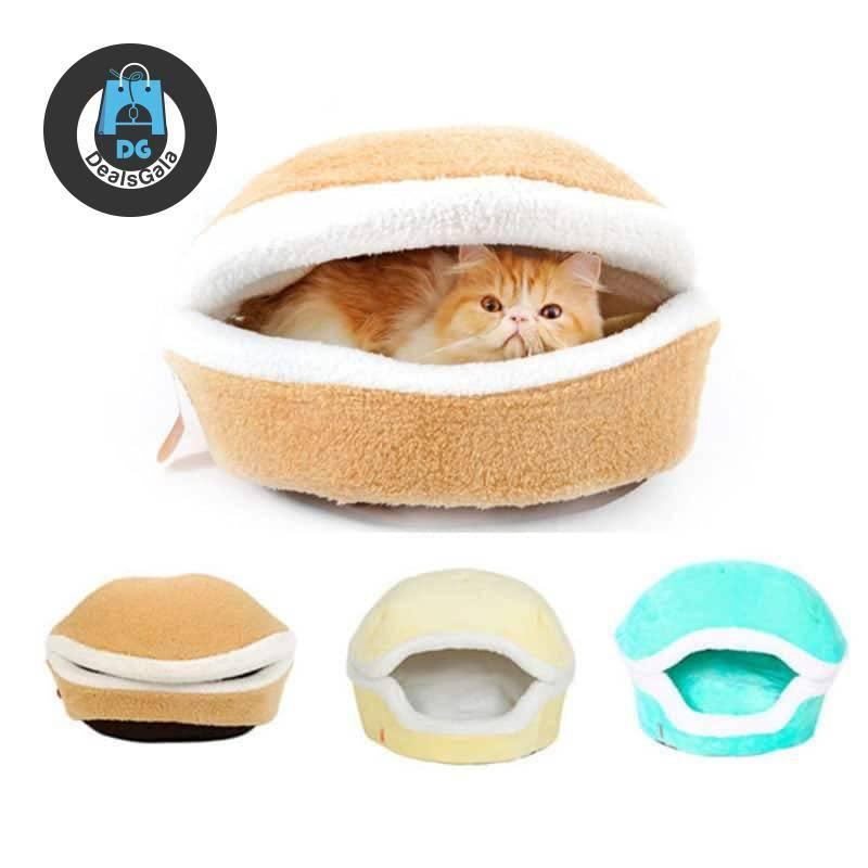 Warm Cat Bed House Hamburger Bed Pet supplies cb5feb1b7314637725a2e7: Button|Green|Light Yellow|Zipper