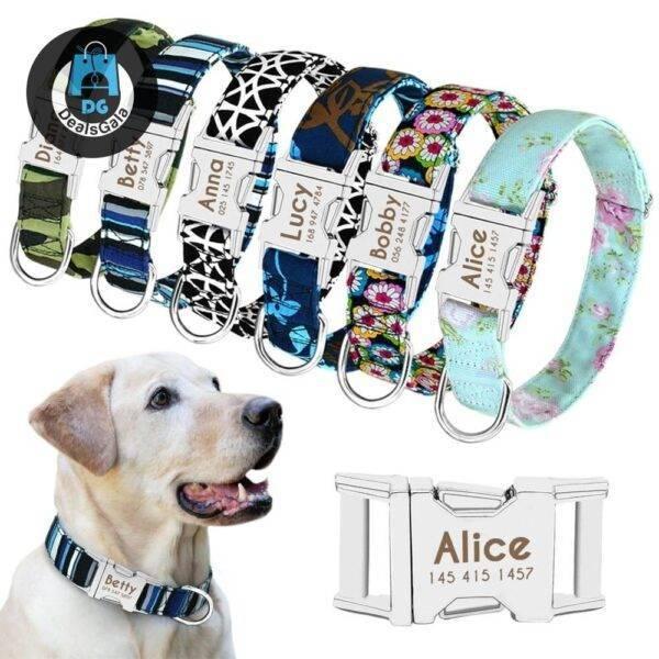 Dog Personalized Nylon Collar Pet supplies cb5feb1b7314637725a2e7: Black|Blue|Blue|Green|Red