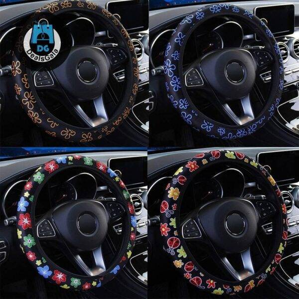 Anti-Slip Flowers Printed Car Steering Wheel Cover Automobiles and Motorcycles Interior Accessories 6ee592b94717cd7ccdf72f: Blue Flowers|Colorful Flowers|Insect|Orange Flowers|Red Flowers