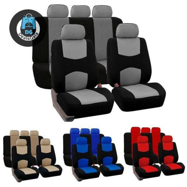 9 Pcs Universal Two Tone Car Seat Covers Set Automobiles and Motorcycles Interior Accessories 6ee592b94717cd7ccdf72f: beige|Blue|Gray|Red