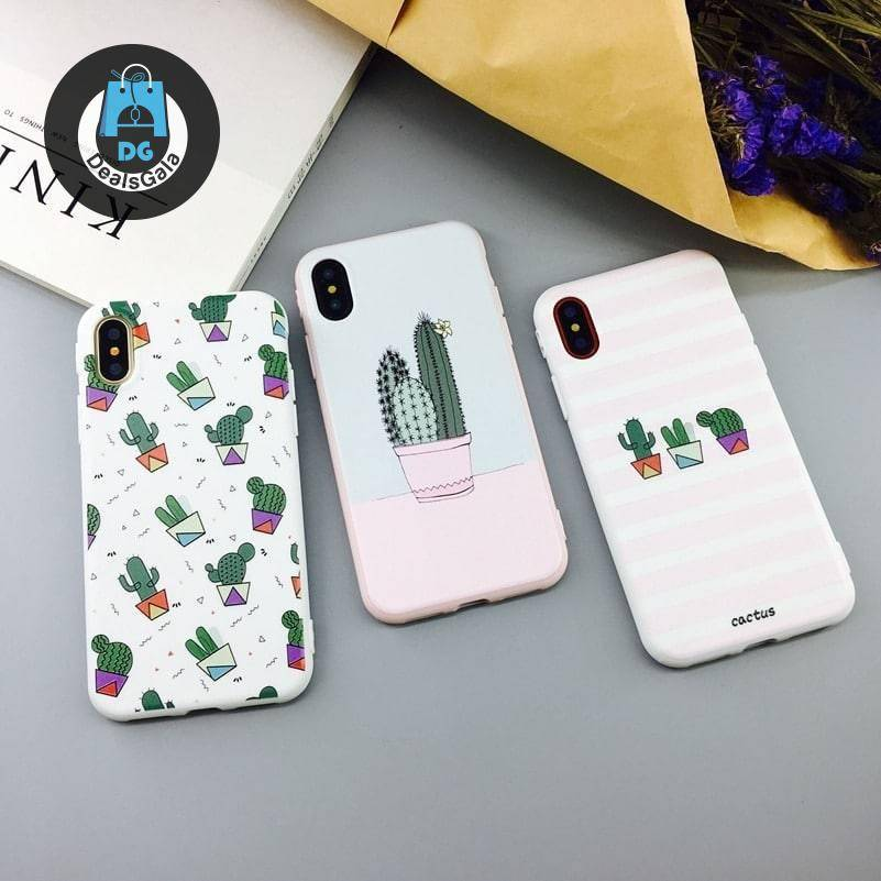 Candy Color Cactus Themed Phone Case for iPhone