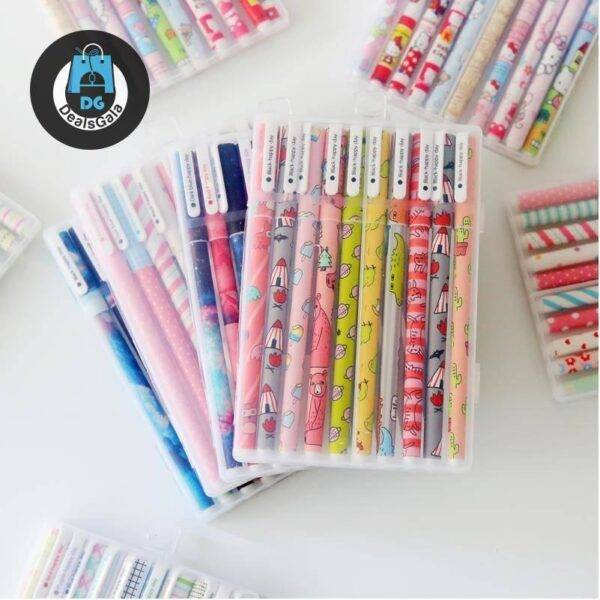 Kawaii Printed Pens 6 pcs and 10 pcs Set Education and Office Supplies cb5feb1b7314637725a2e7: 04117-4|04117-6|1|3|5|7|8|A black ink|A color ink|B black ink|B color ink|Ccolor|D black ink|D color ink