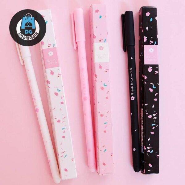 Cute Plastic Gel Pen Education and Office Supplies cb5feb1b7314637725a2e7: 1PC black shaft|1PC pink shaft|1PC white shaft