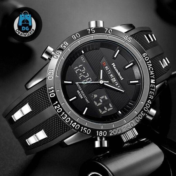 Waterproof Quartz Wristwatches for Men with Digital LED Dial Men's Watches cb5feb1b7314637725a2e7: Black Red