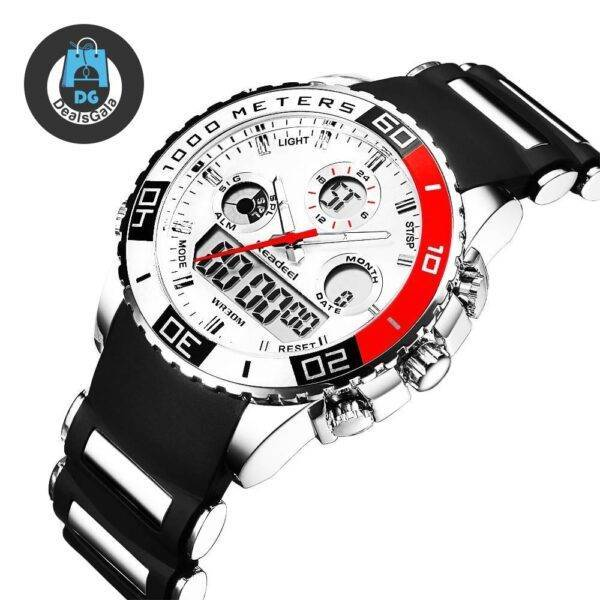 Stylish Sports Wristwatches for Men with Dual Dial Men's Watches cb5feb1b7314637725a2e7: Black Red