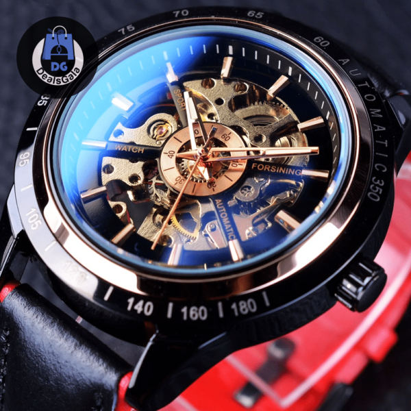 Waterproof Mechanical Wristwatches with Transparent Case Men's Watches cb5feb1b7314637725a2e7: Black red Blue White White / Black