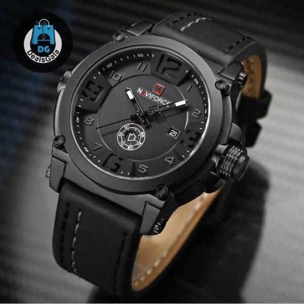 Luxury Sport Leather Strap Quartz Watch Men's Watches cb5feb1b7314637725a2e7: Black Brown Dark brown Red