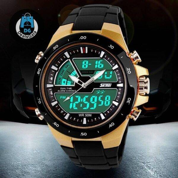 Waterproof Men's Watch Men's Watches cb5feb1b7314637725a2e7: BlackWithBlackRing BlackWithColorBand BlackWithRedRing BlackWithWhiteRing BlueWithColorBand GoldWithBlackBand GreenWithColorBand RedWithColorBand