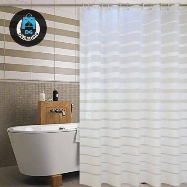 Waterproof Striped Shower Curtain with Hooks Bathroom Accessories Shower Curtains Home Equipment / Appliances cb5feb1b7314637725a2e7: Blue|Light Yellow|White