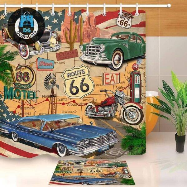 Retro Cars Shower Curtain with Mat Bathroom Accessories Shower Curtains Home Equipment / Appliances cb5feb1b7314637725a2e7: YL11987|YL11988|YL13852|YL13860|YL2215|YL7156|YL7157|YL9767