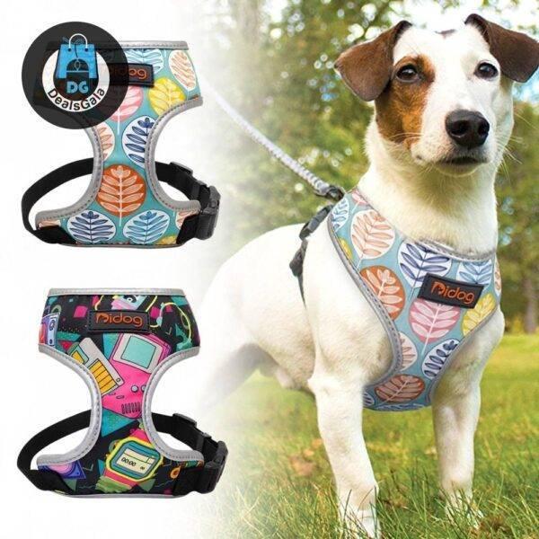 Breathable Printed Nylon Dog Harness Vest Pet supplies cb5feb1b7314637725a2e7: Green orange Rose