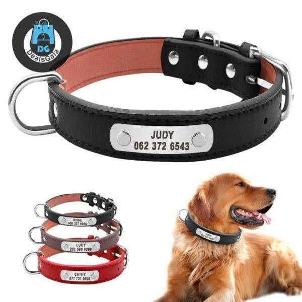 Dog Collar with Customizable ID Tag Pet supplies cb5feb1b7314637725a2e7: Black Brown Red