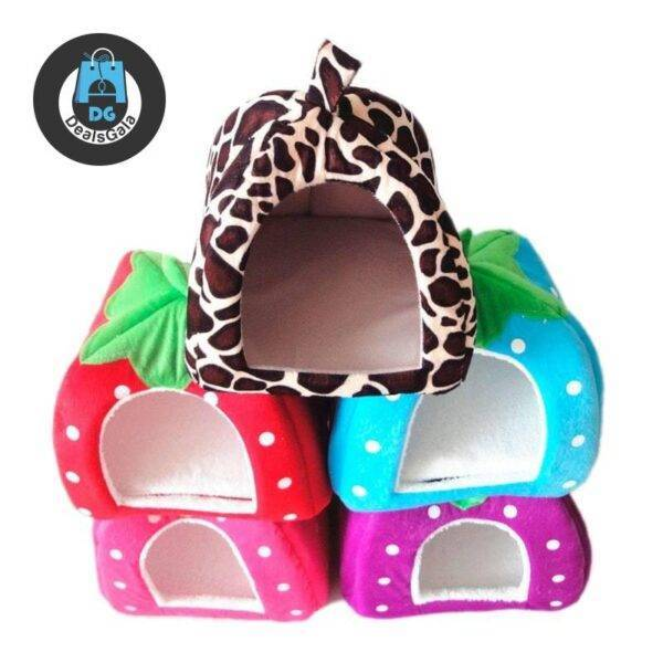 Compact Folding Berry-Shaped Pet House Pet supplies cb5feb1b7314637725a2e7: Blue leopard pink Purple Red