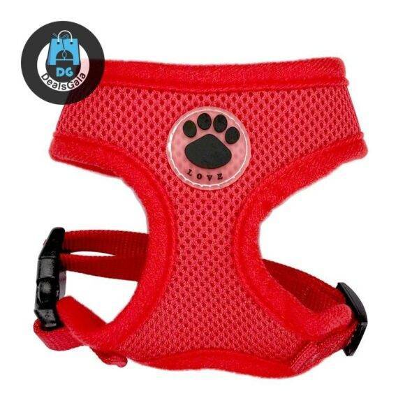 Breathable Paw Print Harness Pet supplies cb5feb1b7314637725a2e7: Black Blue camouflage dark blue Gold Green orange pink Purple Red Rose Red
