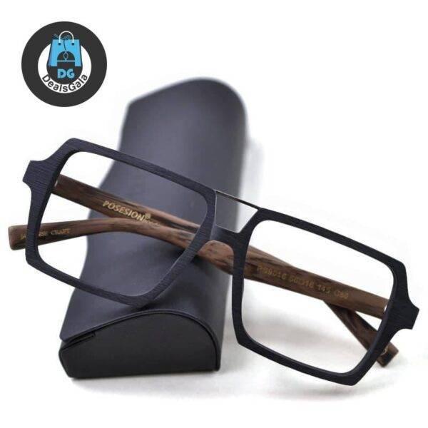 Men's Geometric Oversized Design Glasses Men's Glasses b355aebd2b662400dcb0d5: Black|Black Brown