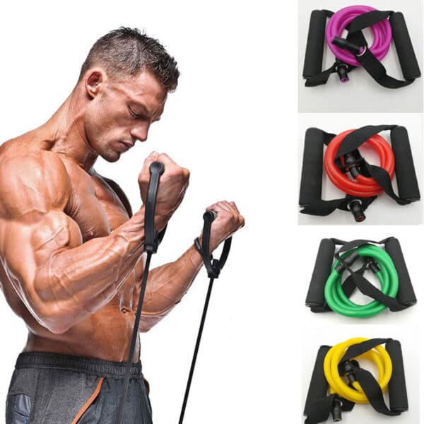 120cm Elastic Resistance Bands Yoga Pull Rope Personal Care Appliances cb5feb1b7314637725a2e7: Black|Blue|Green|pink|Purple|Red|Yellow